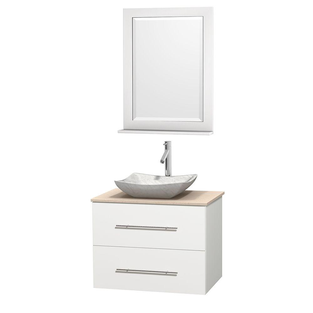 Wyndham Collection Centra 30 in. Vanity in White with Marble Vanity Top in Ivory, Carrara White Marble Sink and 24 in. Mirror