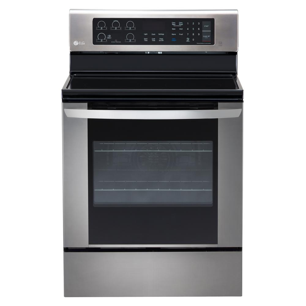 Lg Electronics 6 3 Cu Ft Electric Range With Easyclean Convection Oven In Stainless Steel