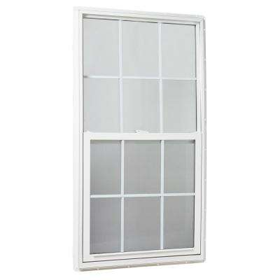 31.25 in. x 59.25 in. Single Hung Vinyl Window Insulated with Grids, White