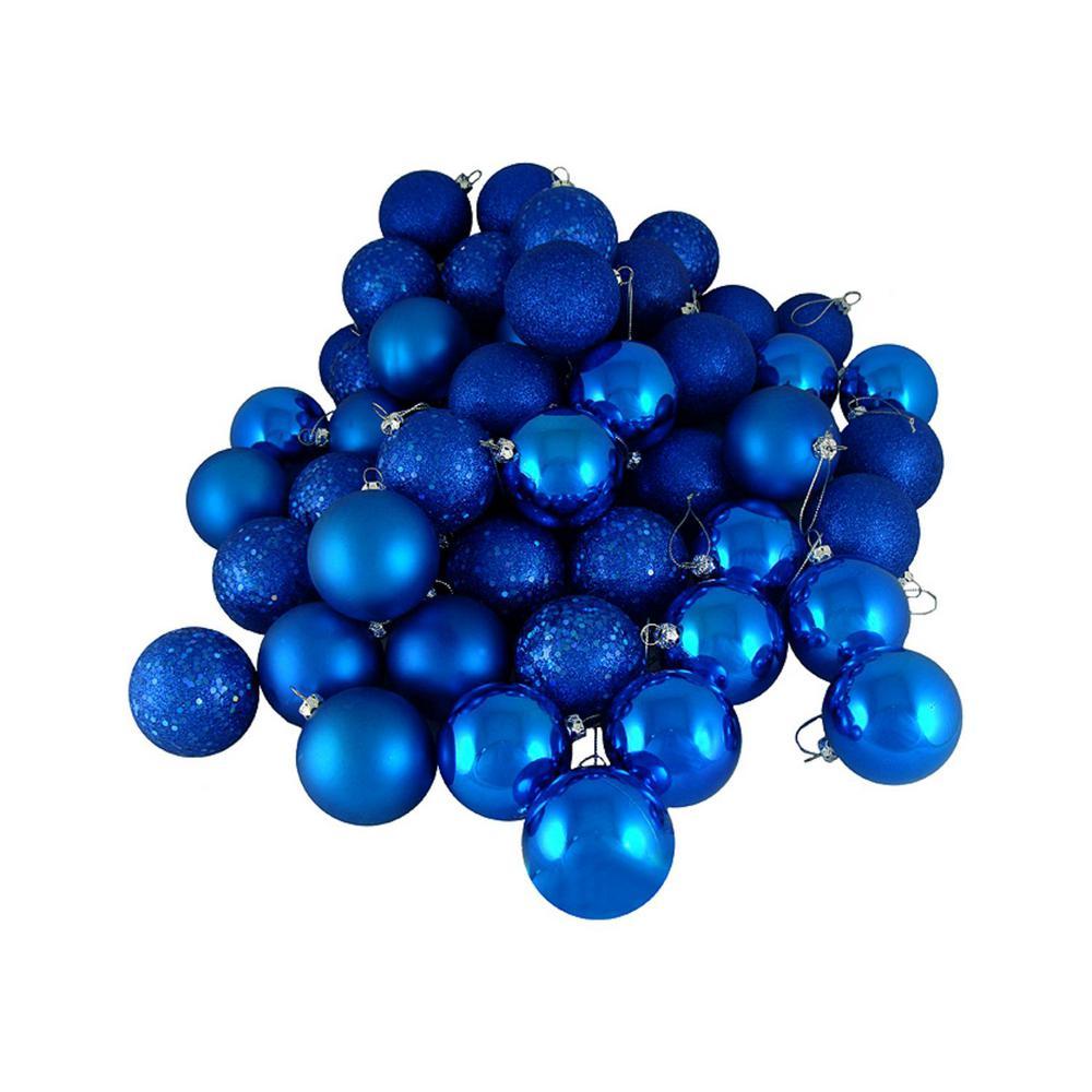 Northlight Lavish Blue Shatterproof 4 Finish Christmas Ball Ornaments 16 Count 31754081 The Home Depot
