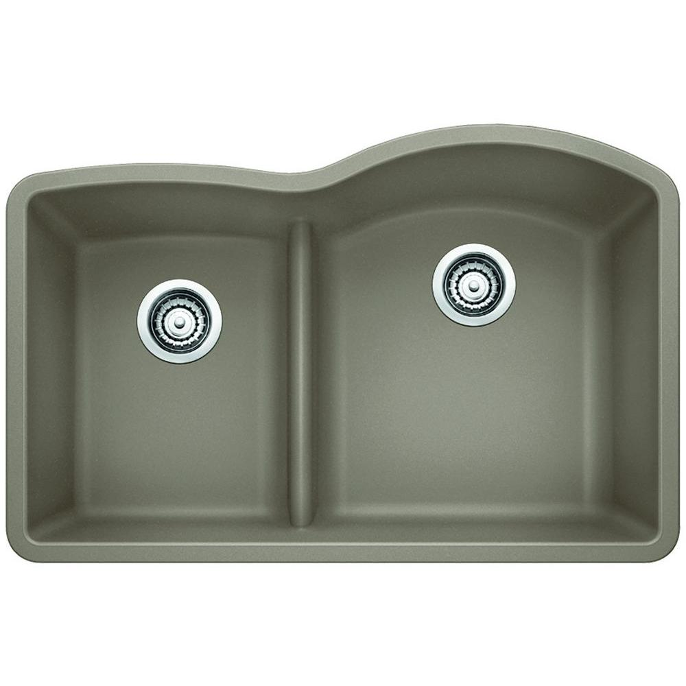 Blanco Diamond Undermount Composite 32 In 1 3 4 Reverse With Low Divide Bowl Kitchen Sink In