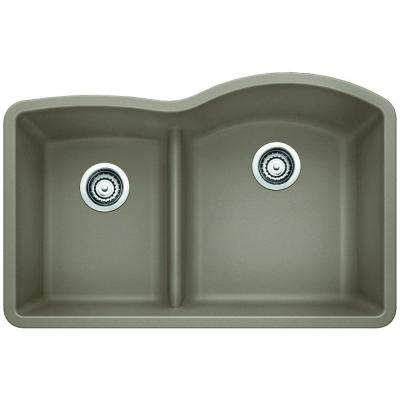 Diamond Undermount Granite Composite 32 in. 0-Hole Reverse with Low Divide Double Bowl Kitchen Sink in Truffle