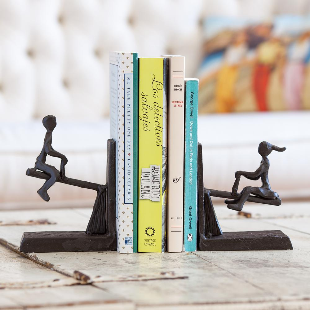 See-Saw Dark Brown Cast Iron Bookends (Set of 2)