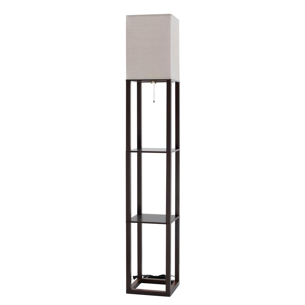 62.5 in. Brown Shelf Floor Lamp