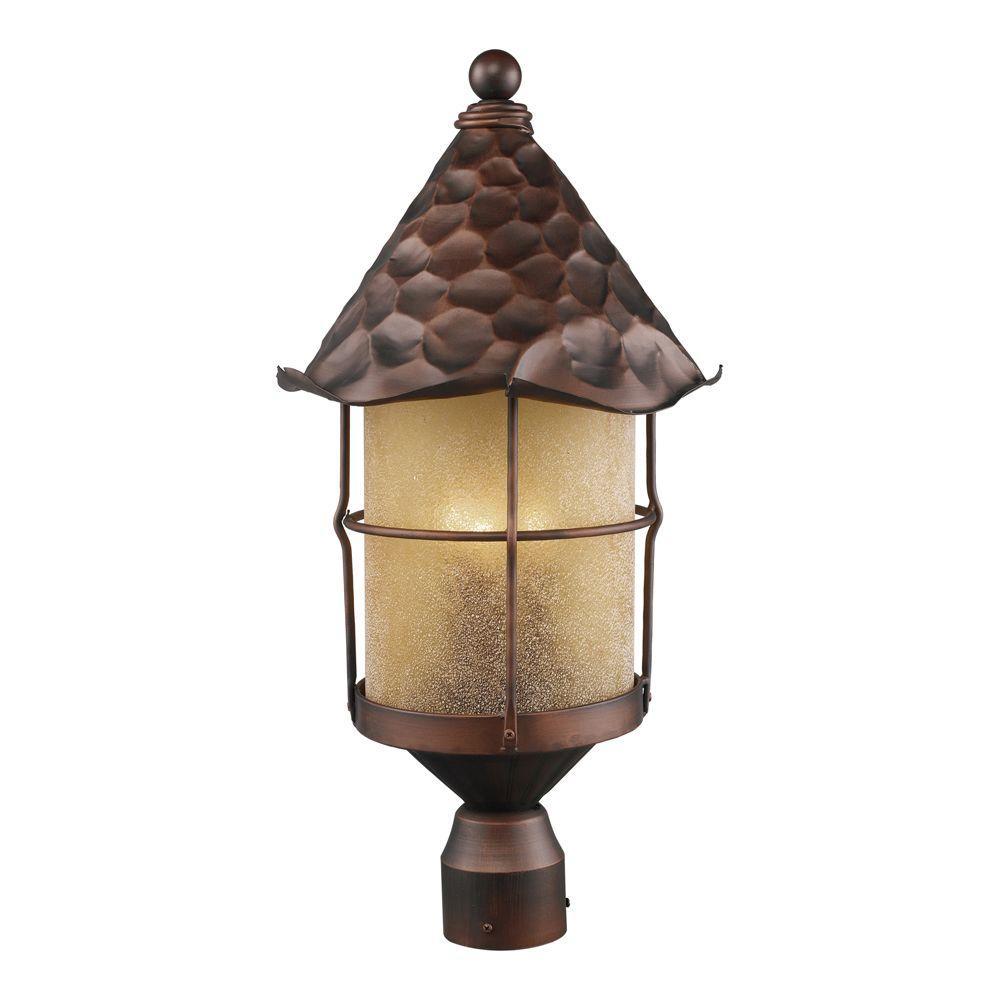 Titan Lighting Rustica 3-Light Outdoor Antique Copper Post Light
