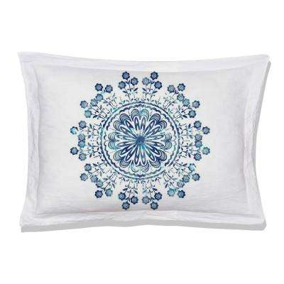 Tiffany Reversible Print Blue/White 100% Organic Cotton Queen Sham (Set of 2)