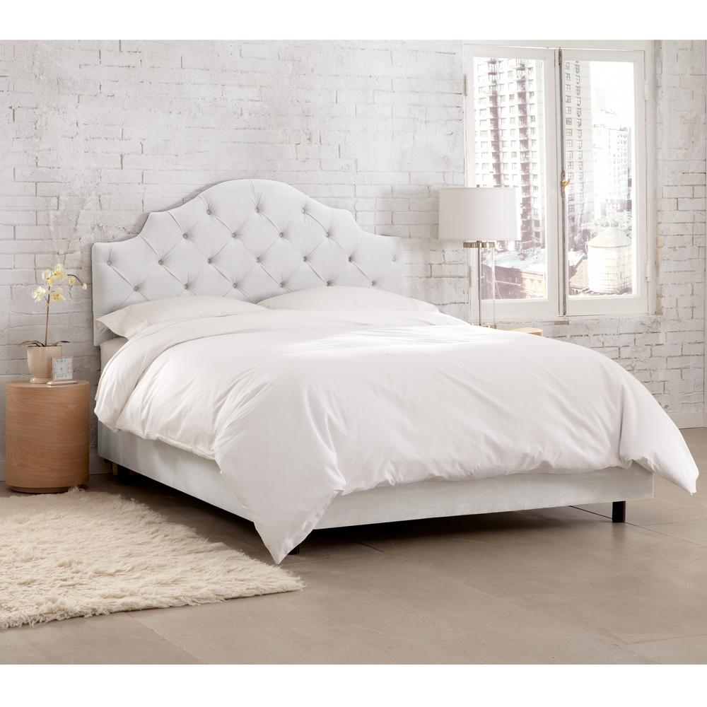 velvet white california king tufted notched bed 634bedvlvwht the home depot. Black Bedroom Furniture Sets. Home Design Ideas