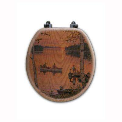 Lakeland Sunset Round Closed Front Wood Toilet Seat in Oak Brown