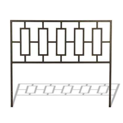 Miami Coffee King Metal Headboard with Squared Tubing and Geometric Design