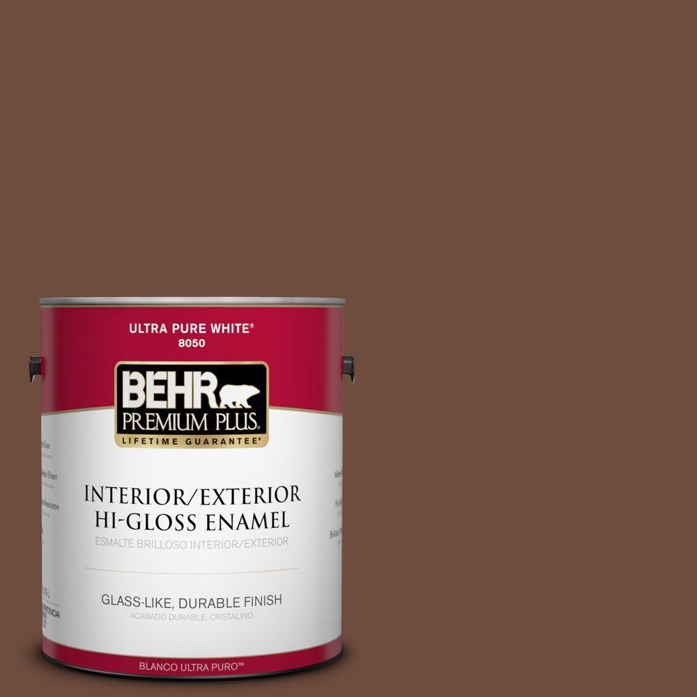 BEHR Premium Plus 1-gal. #ICC-81 Traditional Leather Hi-Gloss Enamel Interior/Exterior Paint