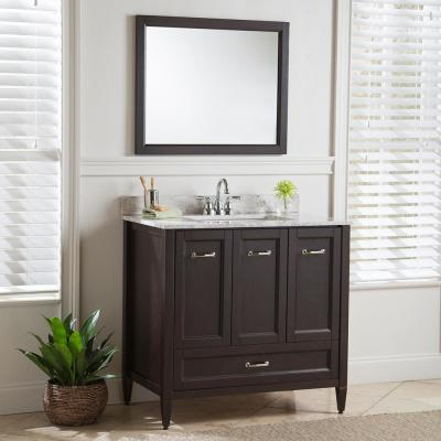 Claxby 37 in. W x 22 in. D Bathroom Vanity in Chocolate with Stone Effect Vanity Top in Winter Mist with White Sink