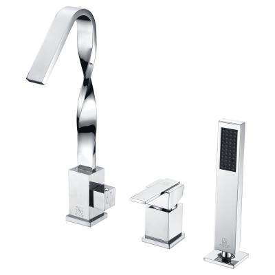 Alamere Single-Handle Deck-Mount Roman Tub Faucet in Polished Chrome