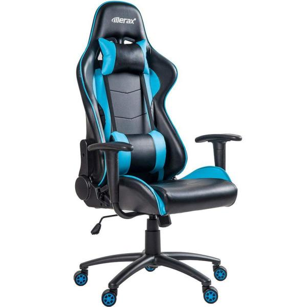 Merax Blue High Back Office Chair with Lumbar Support and Headrest