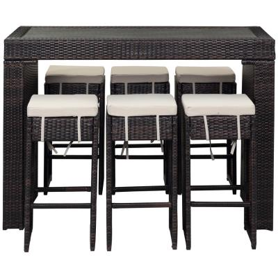 Sanders Brown 7-Piece Wicker Outdoor Bistro Set with Sand Cushions