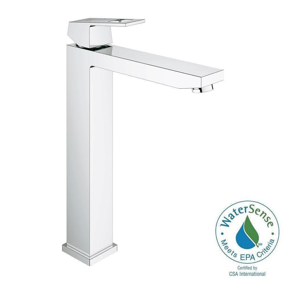 eurocube xlsize single hole vessel bathroom faucet in starlight chrome