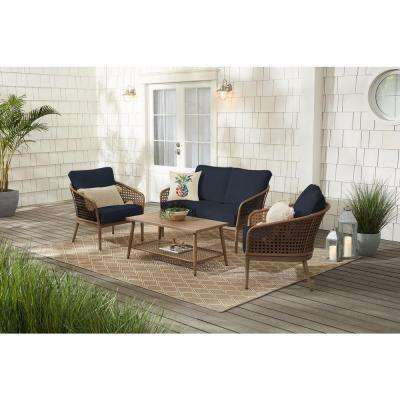Coral Vista 4-Piece Brown Wicker and Steel Patio Conversation Seating Set with CushionGuard Midnight Navy Blue Cushions