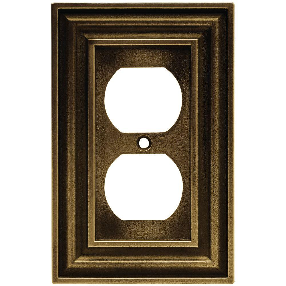 Liberty Rustic Edges 1 Gang Duplex Wall Plate - Tumbled Antique Brass