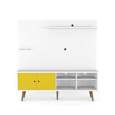 Liberty 70.87 in. White and Yellow Freestanding Entertainment Center