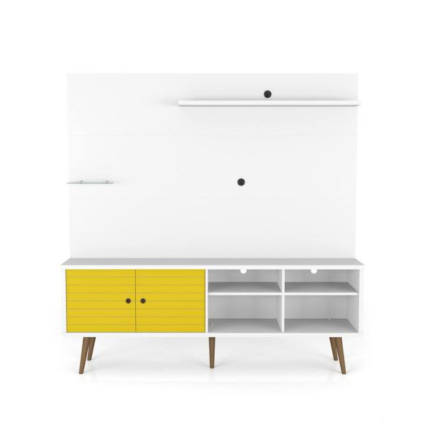 Liberty 71 in. White and Yellow Particle Board Entertainment Center Fits TVs Up to 55 in. with Wall Panel