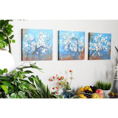 12 in. x 12 in. Cherry Blossoms Painted Framed Canvas Wall Art (Set of 3)