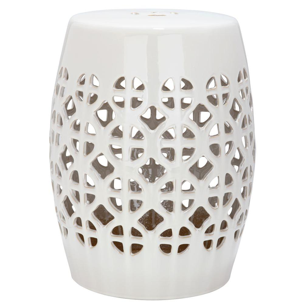 Circle Lattice Cream Ceramic Garden Stool