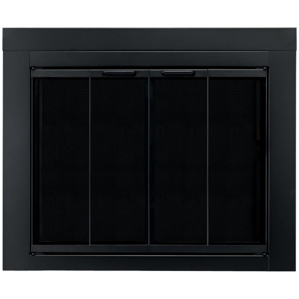 pleasant hearth ascot small glass fireplace doors at 1000 the home rh homedepot com