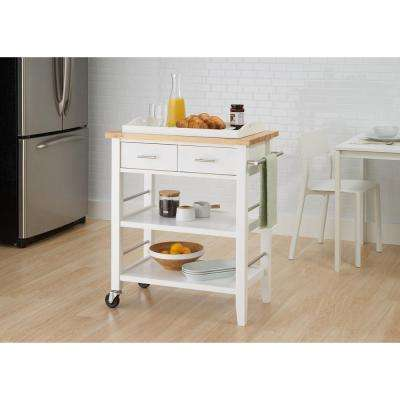 White Kitchen Cart With Drawers & Pull-Out Tray