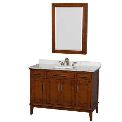Hatton 48 in. Vanity in Light Chestnut with Marble Vanity Top in Carrara White, Sink and Medicine Cabinet