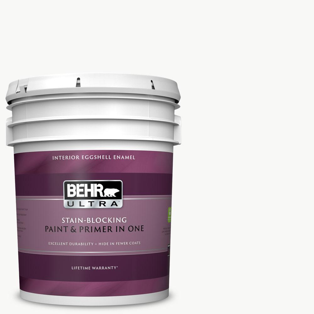 BEHRULTRA BEHR ULTRA 5 gal. Ultra Pure White Eggshell Enamel Interior Paint and Primer in One