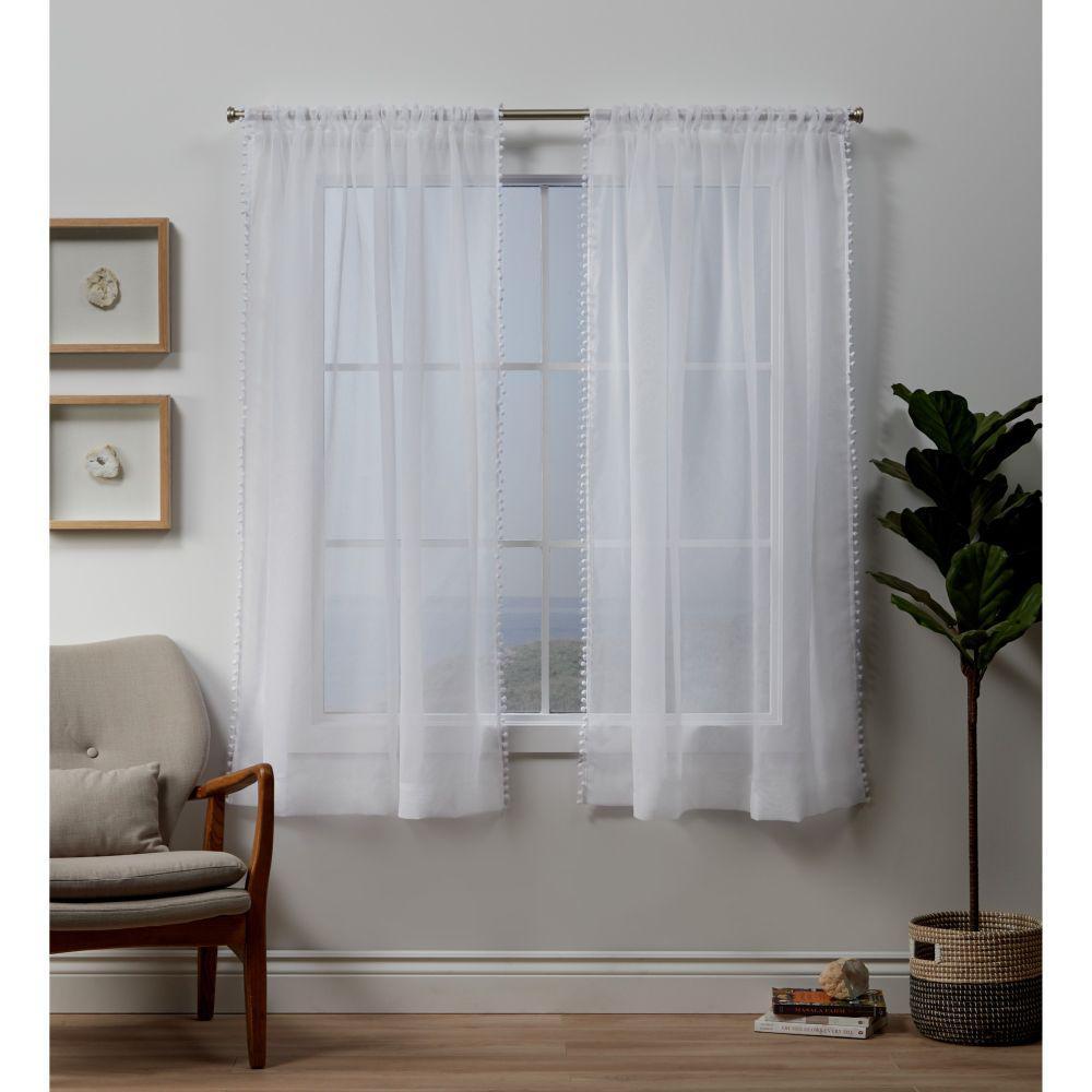 Pom Pom White Sheer Rod Pocket Top Curtain Panel - 54 in. W x 63 in. L (2-Panel)