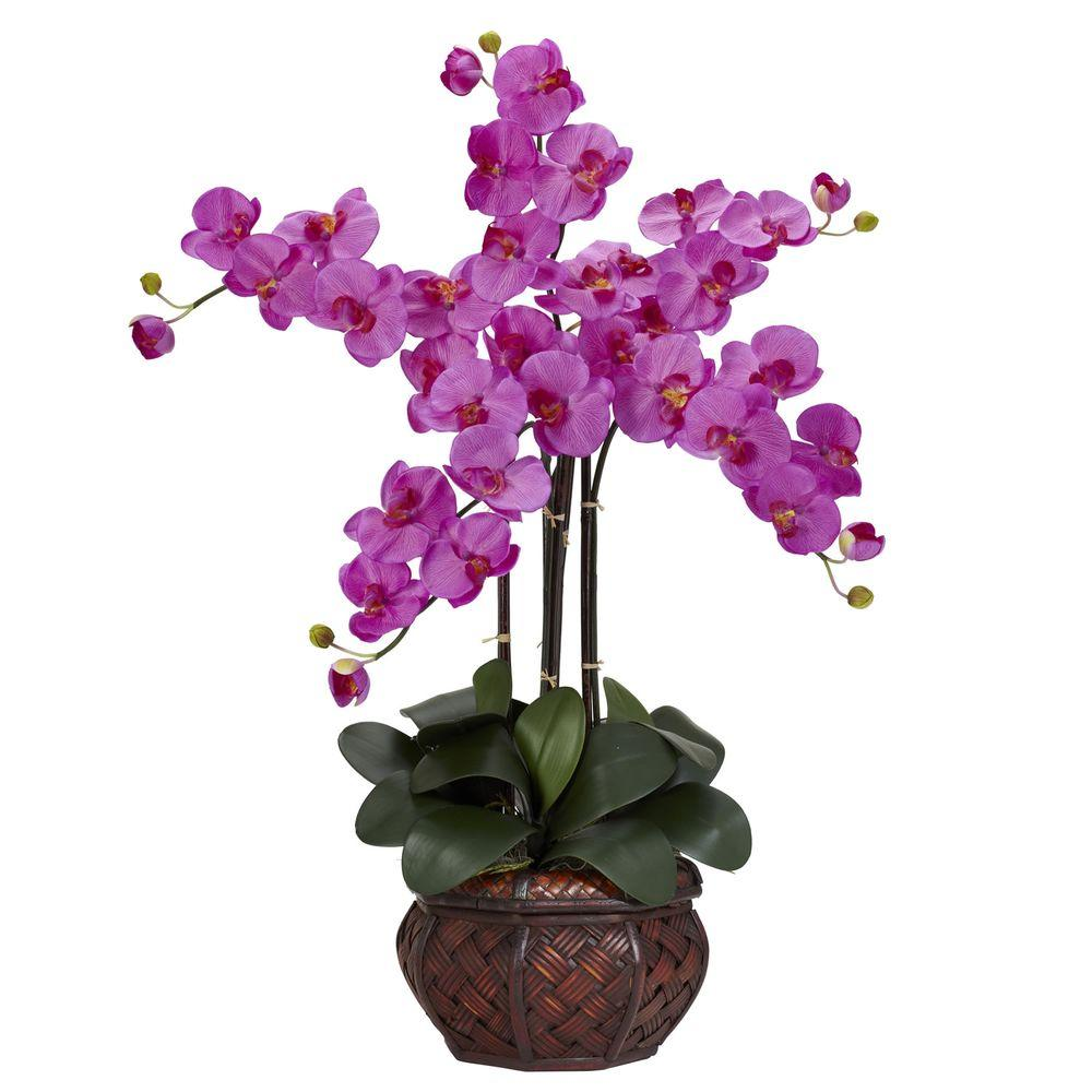 31 In H Orchid Phalaenopsis With Decorative Vase Silk