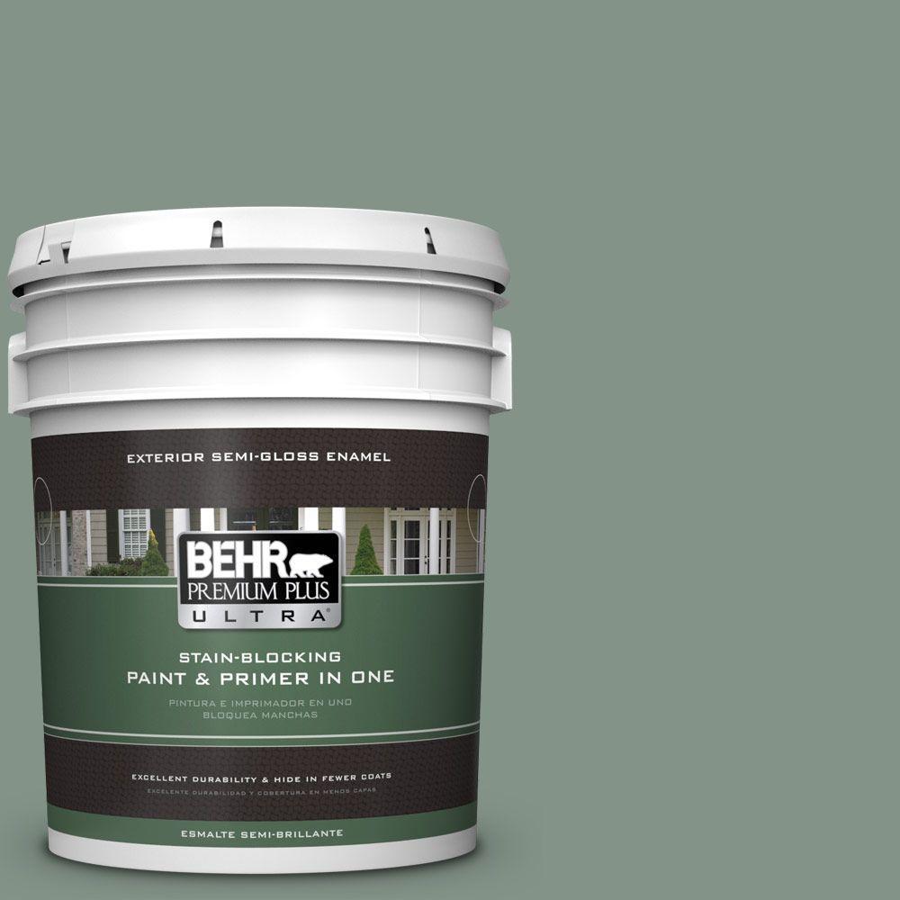 BEHR Premium Plus Ultra 5-gal. #460F-4 Wethersfield Moss Semi-Gloss Enamel Exterior Paint