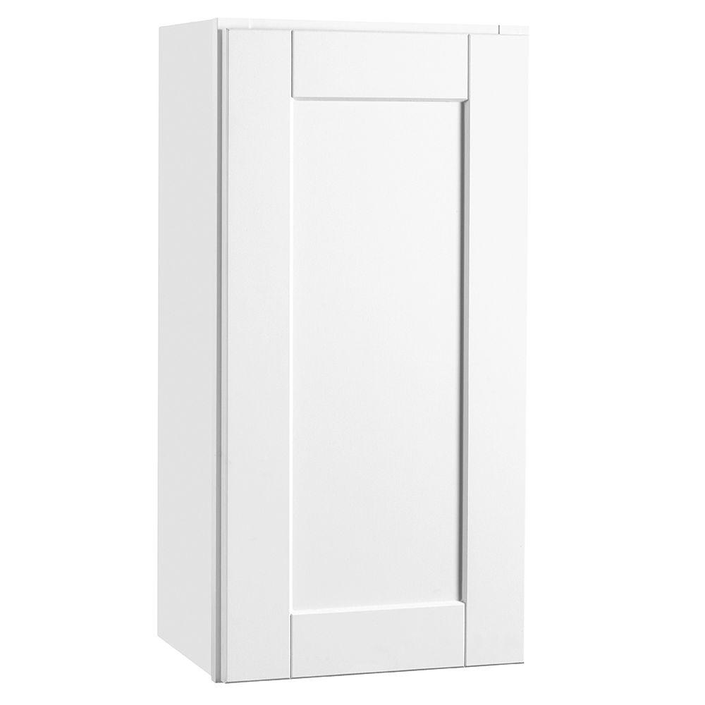 hampton bay shaker assembled 15x30x12 in wall kitchen cabinet in satin white kw1530 ssw the. Black Bedroom Furniture Sets. Home Design Ideas