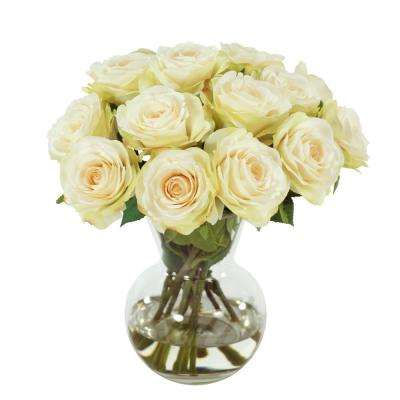 Rose Bouquet 11 in. Vase in Glass White Flowers