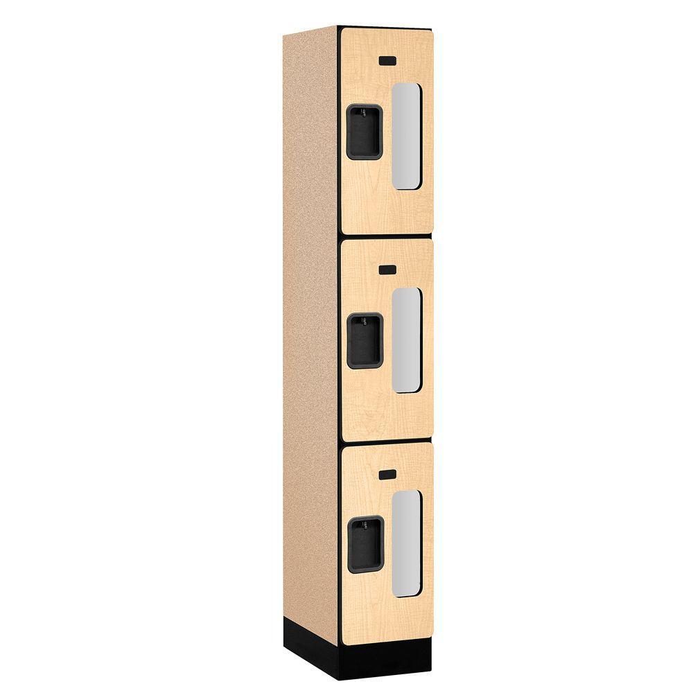 S-33000 Series 12 in. W x 76 in. H x 18 in. D 3-Tier See-Through Designer Wood Locker in Maple