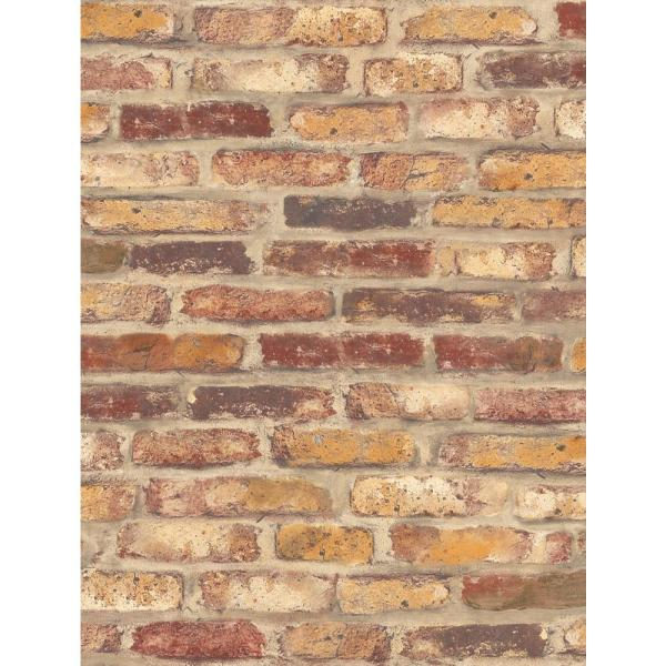 Red Faux Rustic Brick Peel and Stick Wallpaper