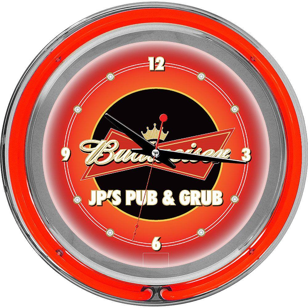 Trademark Global 14 in. Budweiser Double Ring Neon Wall Clock-DISCONTINUED