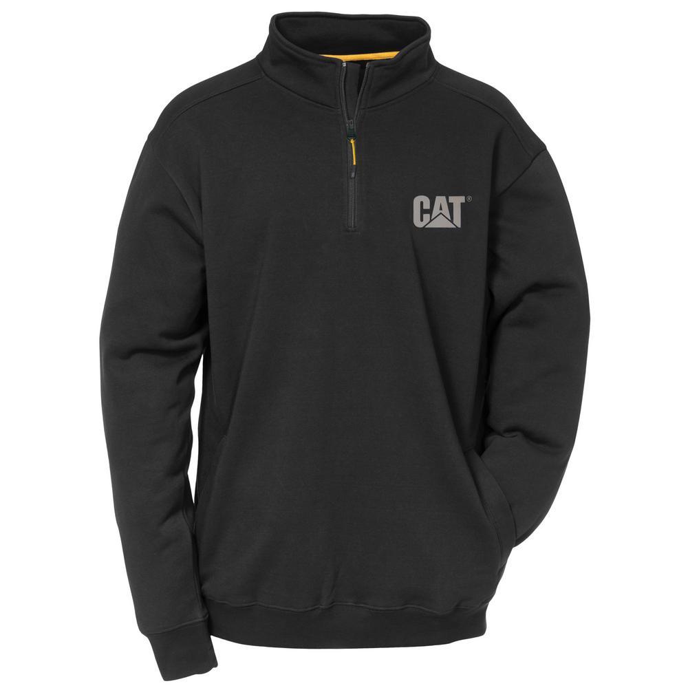 Canyon Men's Size Large Black Cotton/Polyester 1/4 Zip Sweatshirt