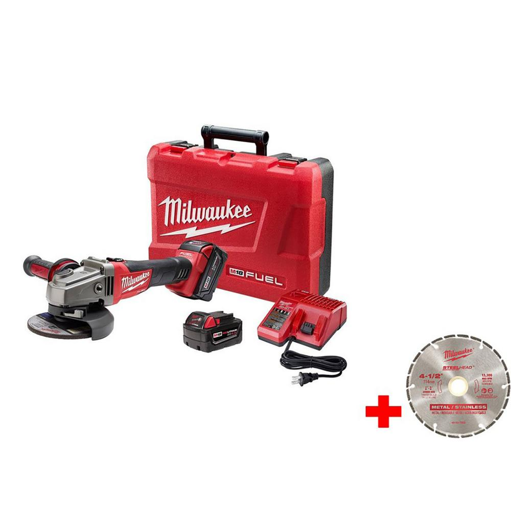 M18 FUEL 18-Volt Lithium-Ion Brushless 4-1/2 in. /5 in. Grinder, Slide