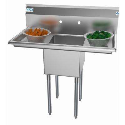 Freestanding Stainless Steel 38 in. 2-Hole Single Bowl Commercial Kitchen Sink