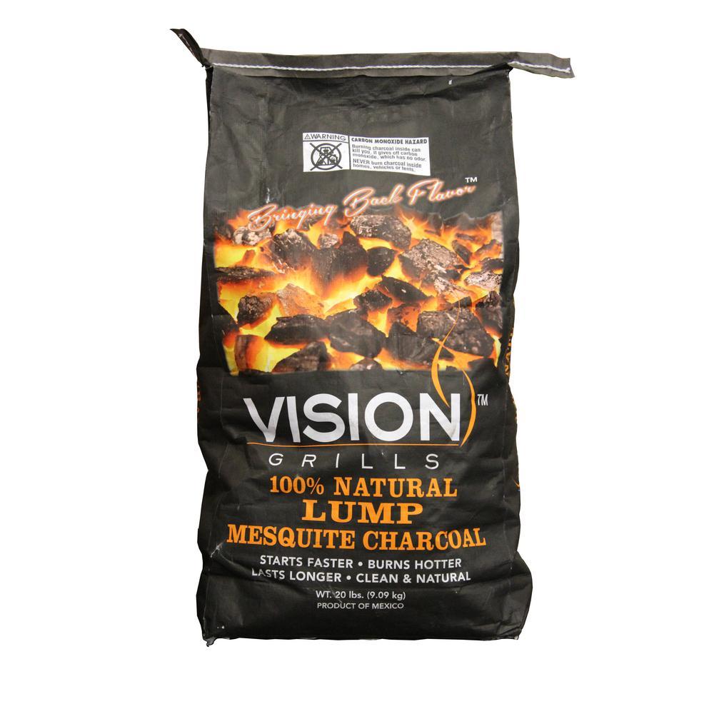 Vision Grills 100 Natural Mesquite Lump Charcoal 20 Lb Bag