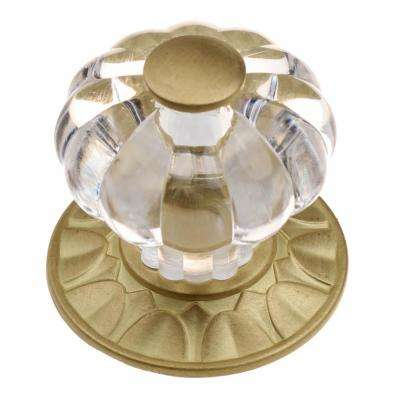 1-1/4 in. Satin Gold Clear Acrylic Melon Cabinet Drawer Knobs with Backplate (10-Pack)
