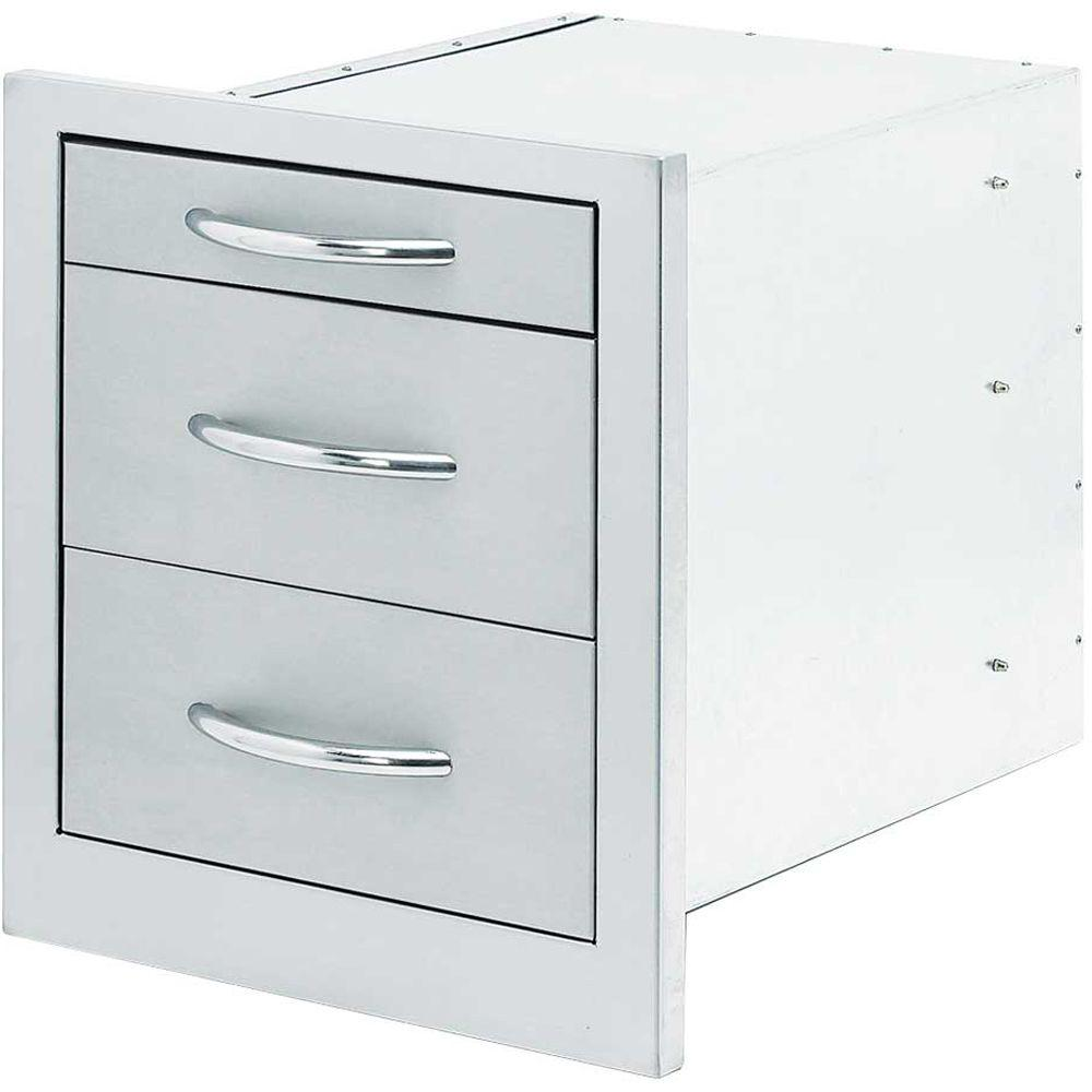 Wide Outdoor Kitchen Stainless Steel 3 Drawer Storage