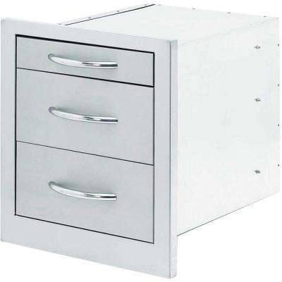 18 in. Wide Outdoor Kitchen Stainless Steel 3-Drawer Storage