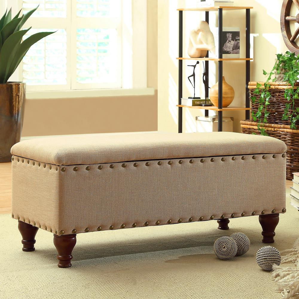 Homepop Tufted Grey Storage Bench-K6189-F1370 - The Home Depot