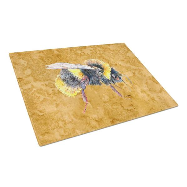 Caroline's Treasures Bee on Gold Tempered Glass Large Cutting Board 8850LCB