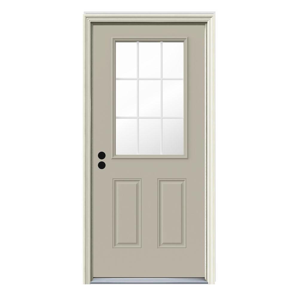 Jeld wen 32 in x 80 in 9 lite desert sand painted steel prehung left hand outswing front door for Prehung outswing exterior door