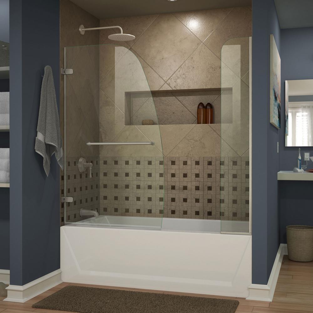 Aqua Uno 60 in. x 58 in. Semi-Framed Hinged Tub/Shower Door in Brushed Nickel