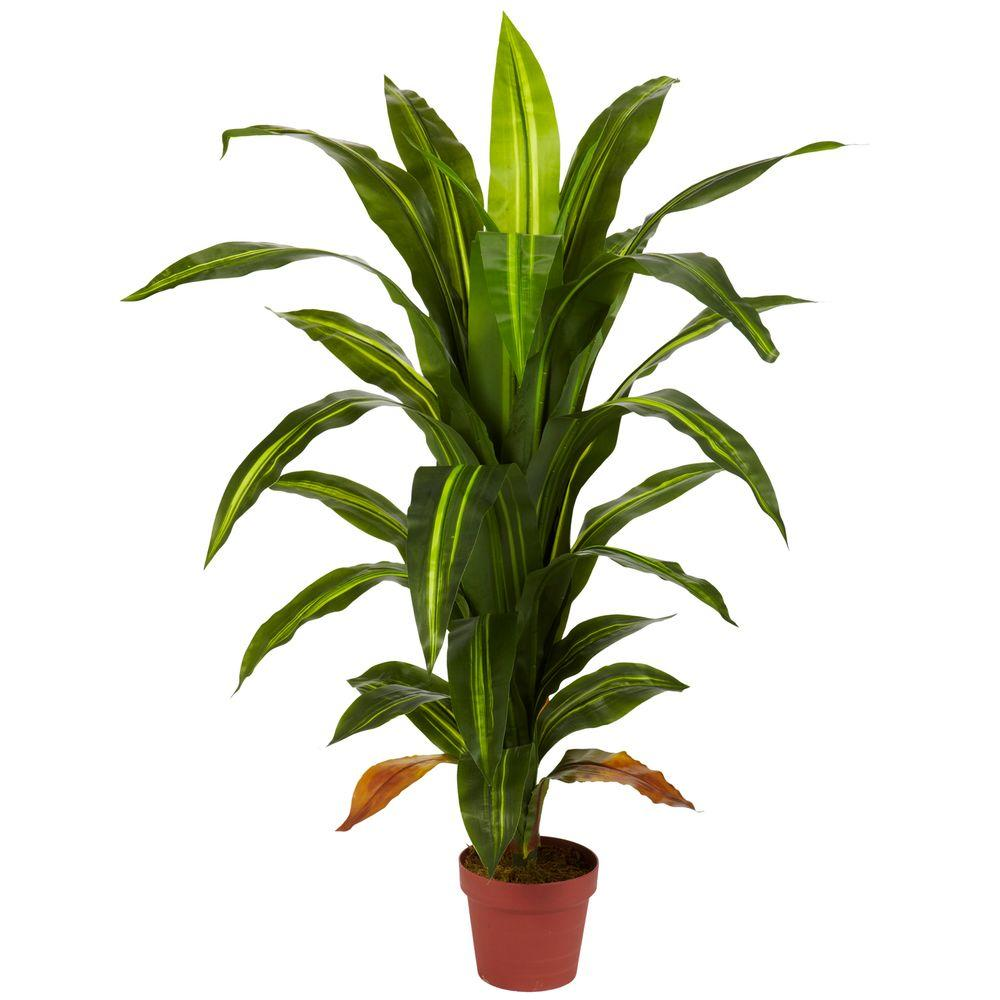 Real Touch 4 ft. Green Dracaena Silk Plant