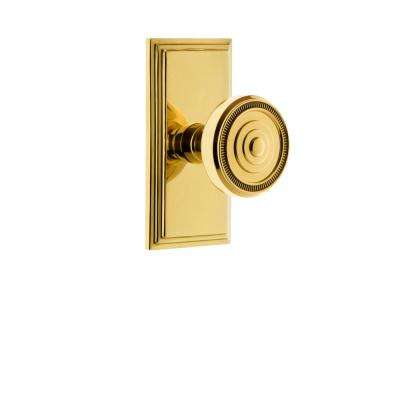Carre Plate 2-3/4 in. Backset Polished Brass Passage Hall/Closet with Soleil Door Knob
